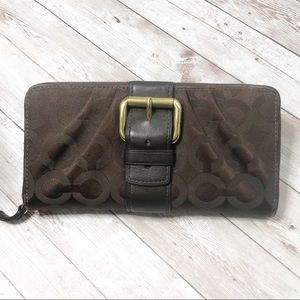 Coach Signature brown long wallet with buckle